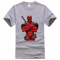 Blusa Camiseta Cinza Mescla Deadpool Marvel Tam. G Malha