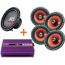Kit Mtx Sub 10 + 4 Falantes De Porta 6 + Módulo 800w