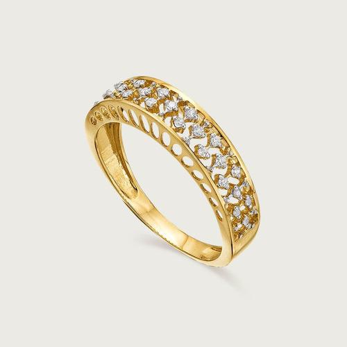 Anel Ouro 18k ( 750 ) Com Diamantes
