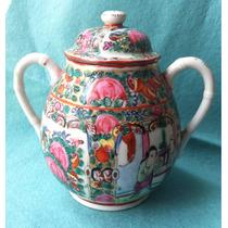 Açucareiro Porcelana Antigo China Decoração Chinesa Vermelho