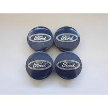 Jogo Calotinha Centro De Roda Ford 55mm Azul
