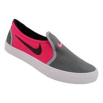 Tênis Feminino Nike Toki Slip Cinza E Rosa Cod13906