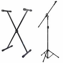 Estante Suporte P/ Teclado Musical + Pedestal P/ Microfone
