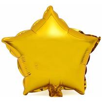 Kit Com 8 Balão Metalizado Estrela 45cm Dourado