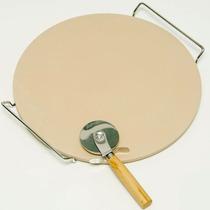 Forma Pedra P/ Assar Pizza 33cm C/ Suporte + Cortador Brinde