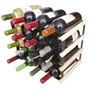 Adega Rack Luxo 16 Garrafas De Vinho Em Madeira E Aço