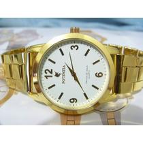 Relógio De Pulso Potenzia Dourado Lindo Fundo Branco