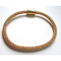 Amx-bracelete Italiano Em Prata 925 C/ Folheado A Ouro 18k .