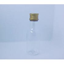 Kit - 30 Mini Garrafinhas Plástica 50ml Tampa Metal Dourada