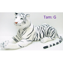Tigre Branco Pelúcia Grande Realista Presente Decoração