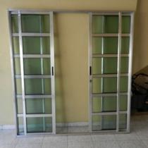 Porta Sacada Travesa 4.fls Alum 2.10 X 2.00 Brilh.. L-25 C/f