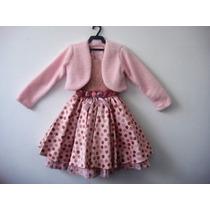 Vestido De Bolinhas Com Colete Rosa - Bambina Fashion