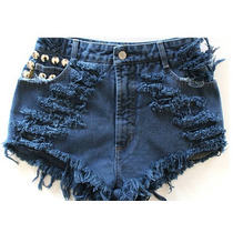 Shorts Jeans Destroyed Colorido, Azul Customizado