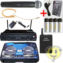 Microfone Sem Fio Leson Duplo Hd/ht85 Mão, Head Recarregavel