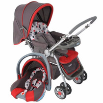 Carrinho De Bebê Com Bebê Conforto Alça Reversível Vermelho