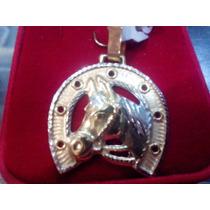 Pingente Ferradura Com Cara De Cavalo - Ouro 18k
