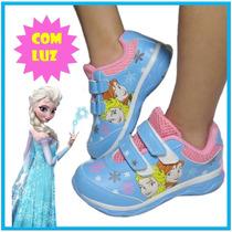 Tênis Fantasia Frozen Elsa Anna Pisca Acende Luz Sem Cadarço