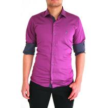 Camisas Polos Sociais Grafite, Viho, Azul Lilás, Slim Fit100