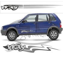 Kit Faixas Laterais Para Fiat Uno Way (guga)