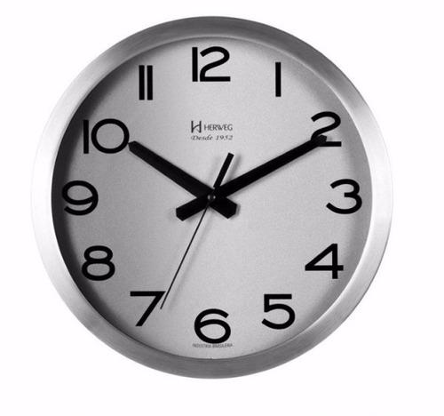 a3e02dee717 Relógio Silencioso D Parede 30cm Alumínio Cinza Herweg 6715s