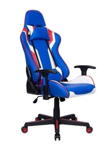 Cadeira De Escritório Pelegrin 3010 Jogador Ergonômica Azul/branca/vermelha