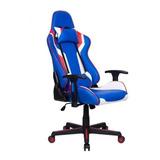 Cadeira De Escritório Pelegrin 3010 Gamer Ergonômica Azul, Branca E Vermelho Con Estofado Do Couro Sintético