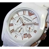 Relógio Empório Armani Ar1416 -ceramica Branco-