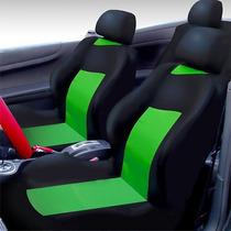Capa De Banco Automotivo Preta Com Verde Impermeável Nylon