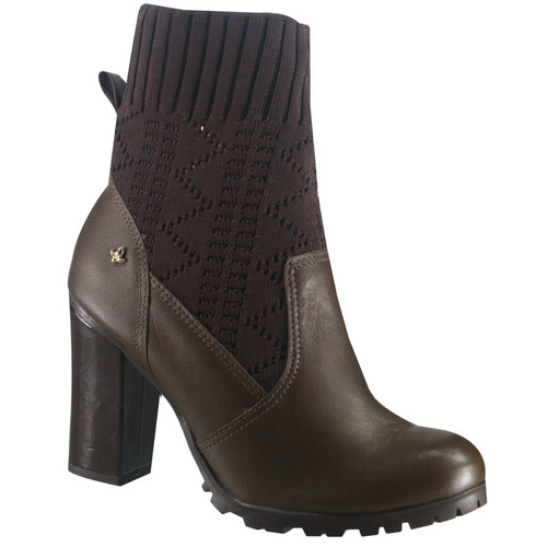 d5798fc9fc Bota Ankle Boot Cravo E Canela 144114-4