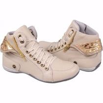 Sapatênis Feminino Moda Botinha Stilo Sneaker Cano Dobrado