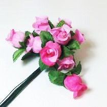144 Mini Rosas Cor De Rosa - Flores Artificiais Lembrancinha