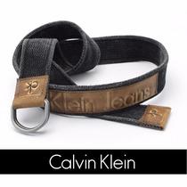Cinto Masculino Lona Calvin Klein Ck Detalhe Couro Original
