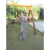 Vestido Babado C/ Fenda Lateral - Super Na Moda, Listrado