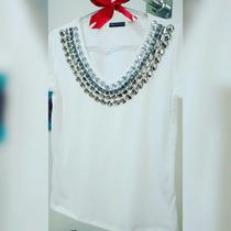 T-shirt Bordada A Mão Moda Blogueiras