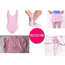 Kit Roupa De Ballet Infantil - Kit 05 Peças