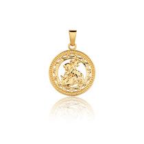 Pingente Prata Banho Ouro Placa Santo Medalha São Jorge