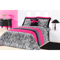 Kit Cobre Leito Casal Queen Charlote 5 Pçs De Zebra - Pink