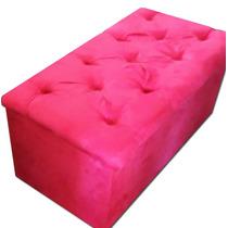 Puff Baú Pé De Cama Solteiro Quarto Menina Rosa Peseira Pink