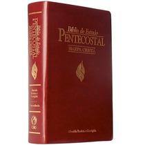 Bíblia De Estudo Pentecostal Com Harpa Média Luxo Vinho