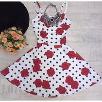 Vestido Rodado Alça Estampado Feminino Curto Verão
