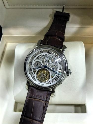 a9d7b733fc4 Relógio Patek Philippe Esqueleto Pulseira De Couro Masculino - R ...