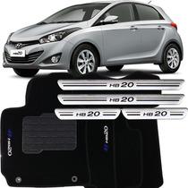Kit Tapete Carpete Soleira Prateada Hyundai Hb20 2012/...