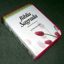 Bíblia Letra Grande, Tulipa (evangélica) Ziper Frete Grátis
