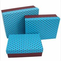 Caixa Presente De Papelão Marrom Com Azul 3 Unid. Decoração