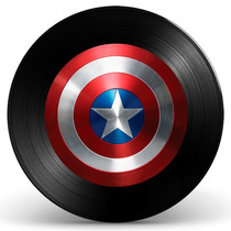 Quadro Escudo Capitão América Em Disco De Vinil - Decoração