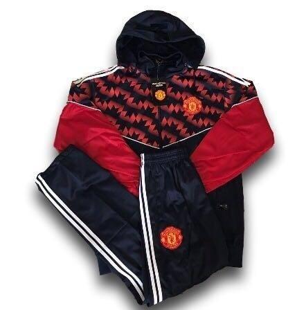 Agasalho Conjunto Do Manchester United Azul Blusa Calça Time fe58ae810d9a4