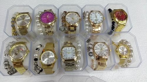 43857b0185c Kit 10 Relógio Feminino + 10 Pulseiras Atacado Para Revend. R  189.5