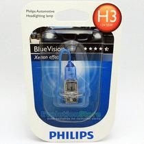 Lâmpada Philips H3 Blue Vision 4000k Carro Moto Efeito Xenon