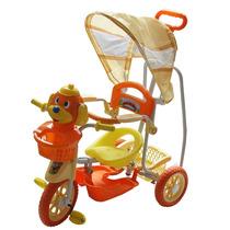 Carrinho Bebê Triciclo Capota 3 Em 1 Música Luz Laranja 9111