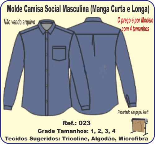 82ac7f0ce0 Molde Camisa Social Masculina (manga Curta E Longa) 023